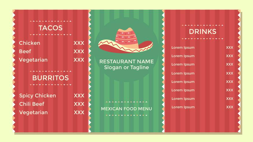 Menu mexicain de nourriture Flyer Vector