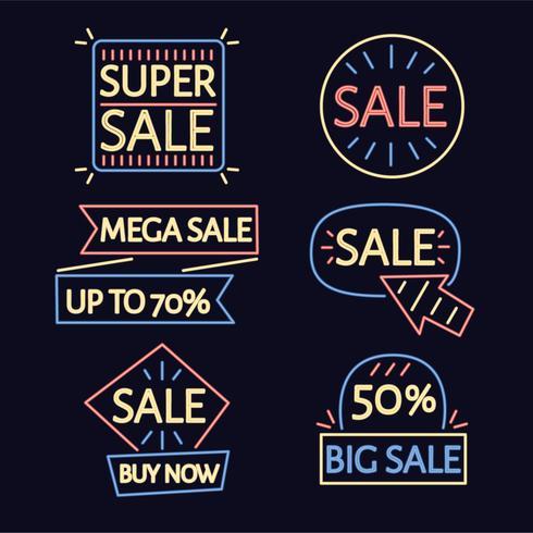 Neon Verkauf Abzeichen Vektor