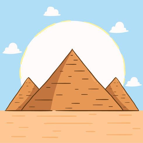 Vetor de pirâmides de mão desenhada