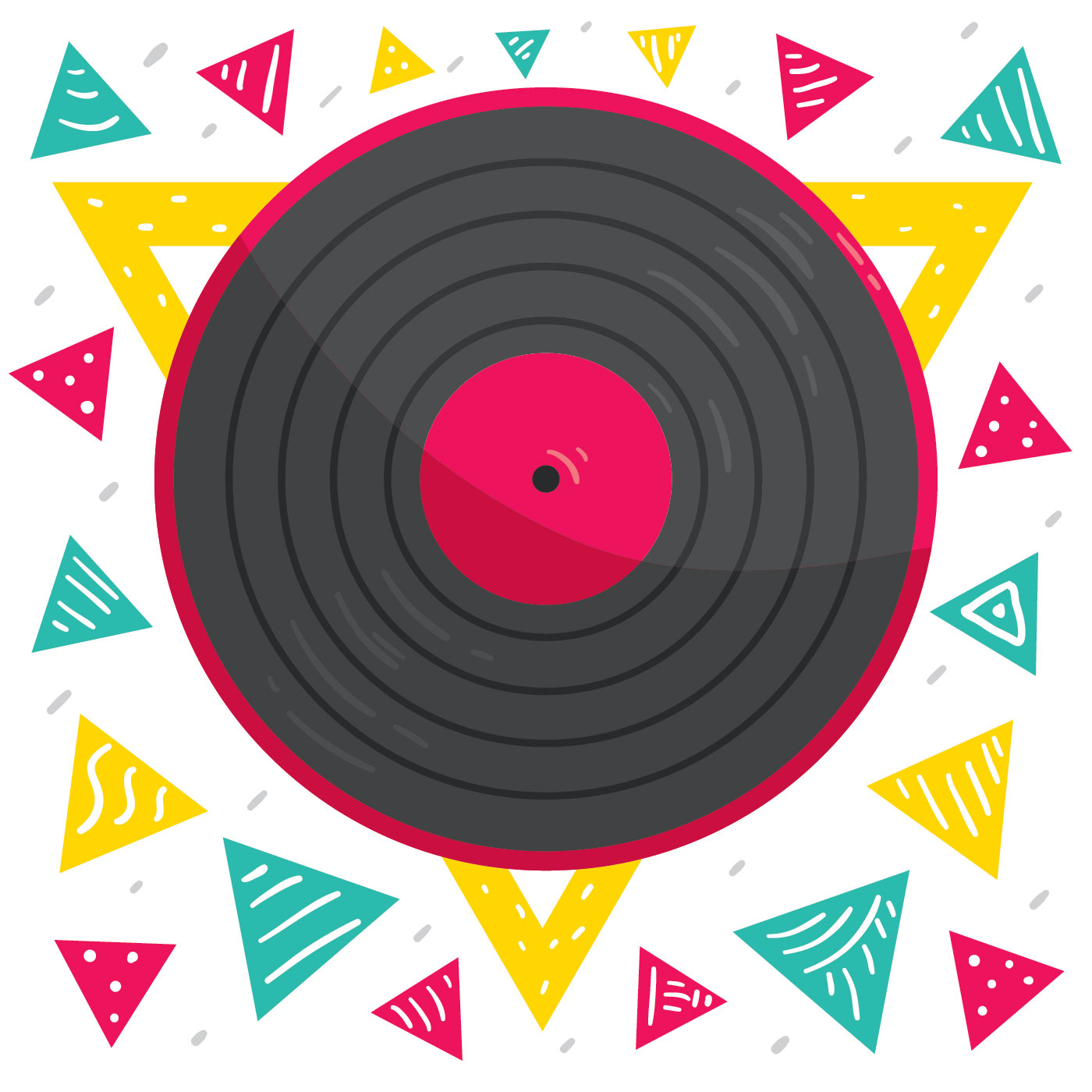 Colorful Triangle Vinyl Records Vector Download Free