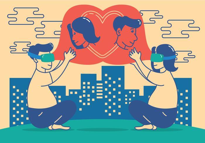 En amour avec l'illustration de la technologie