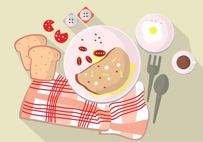 Illustration Set Morning Omelet Time On Table