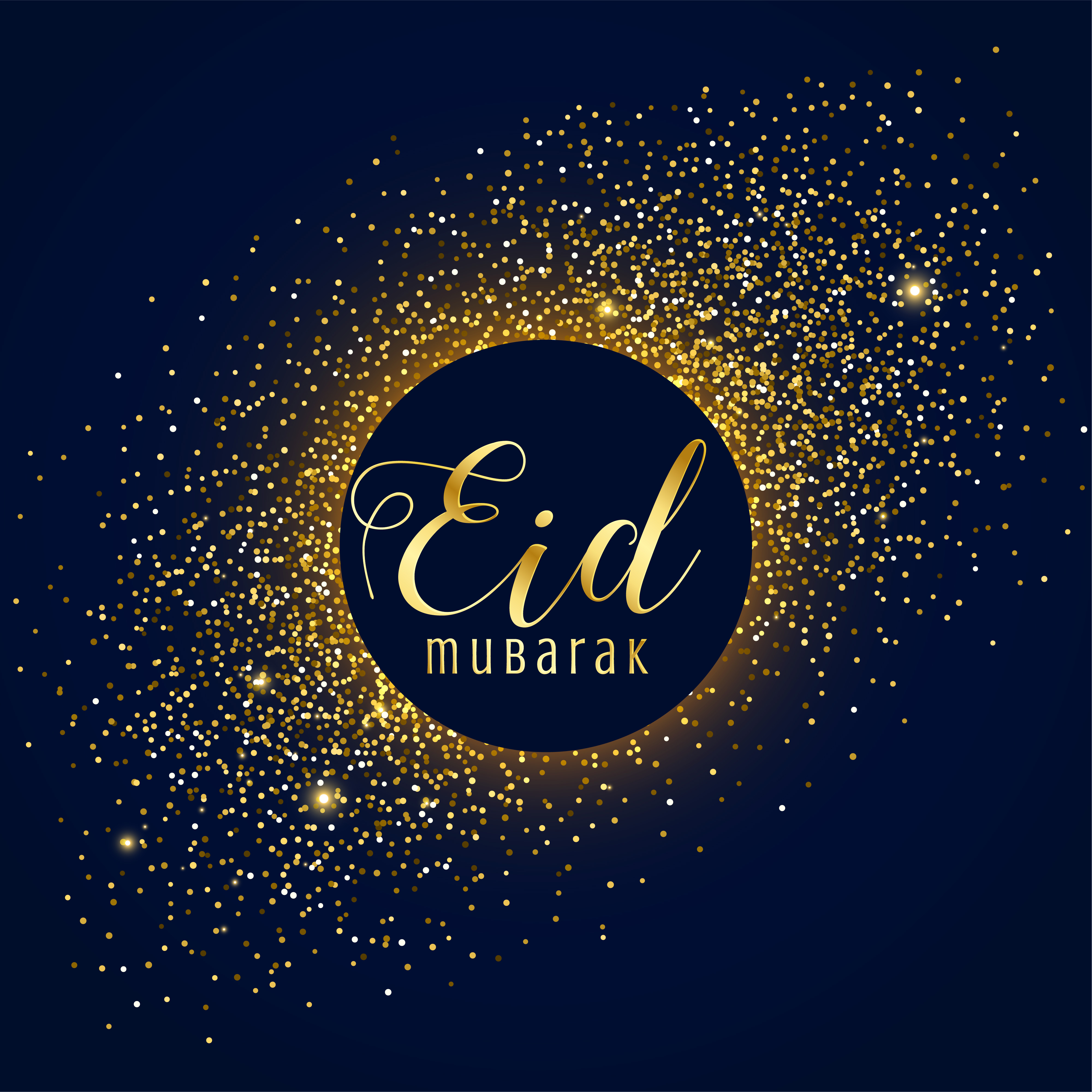 awesome eid mubarak festival greeting with golden sparkles ...
