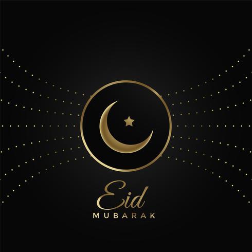 Diseño de festival de eid brillante sobre fondo negro