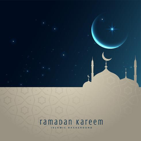 beautiful night scene with mosque and moon, ramadan kareem greet