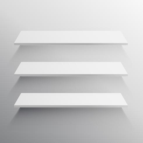 three shelves with long shadow mockup