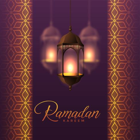 hanging lanterns and islamic pattern design for ramadan kareem