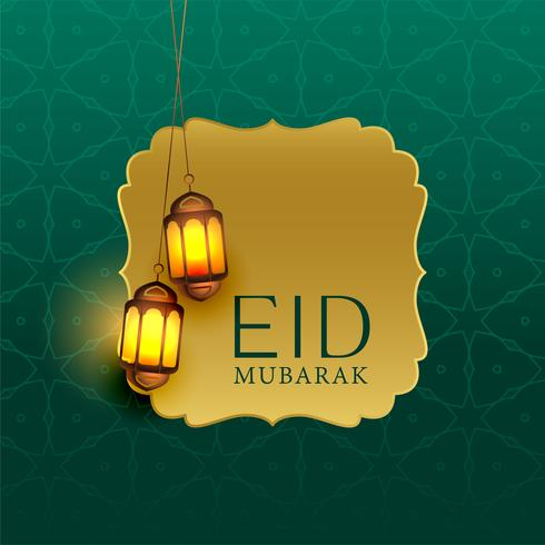 beautiful eid mubarak greeting with hanging lamps