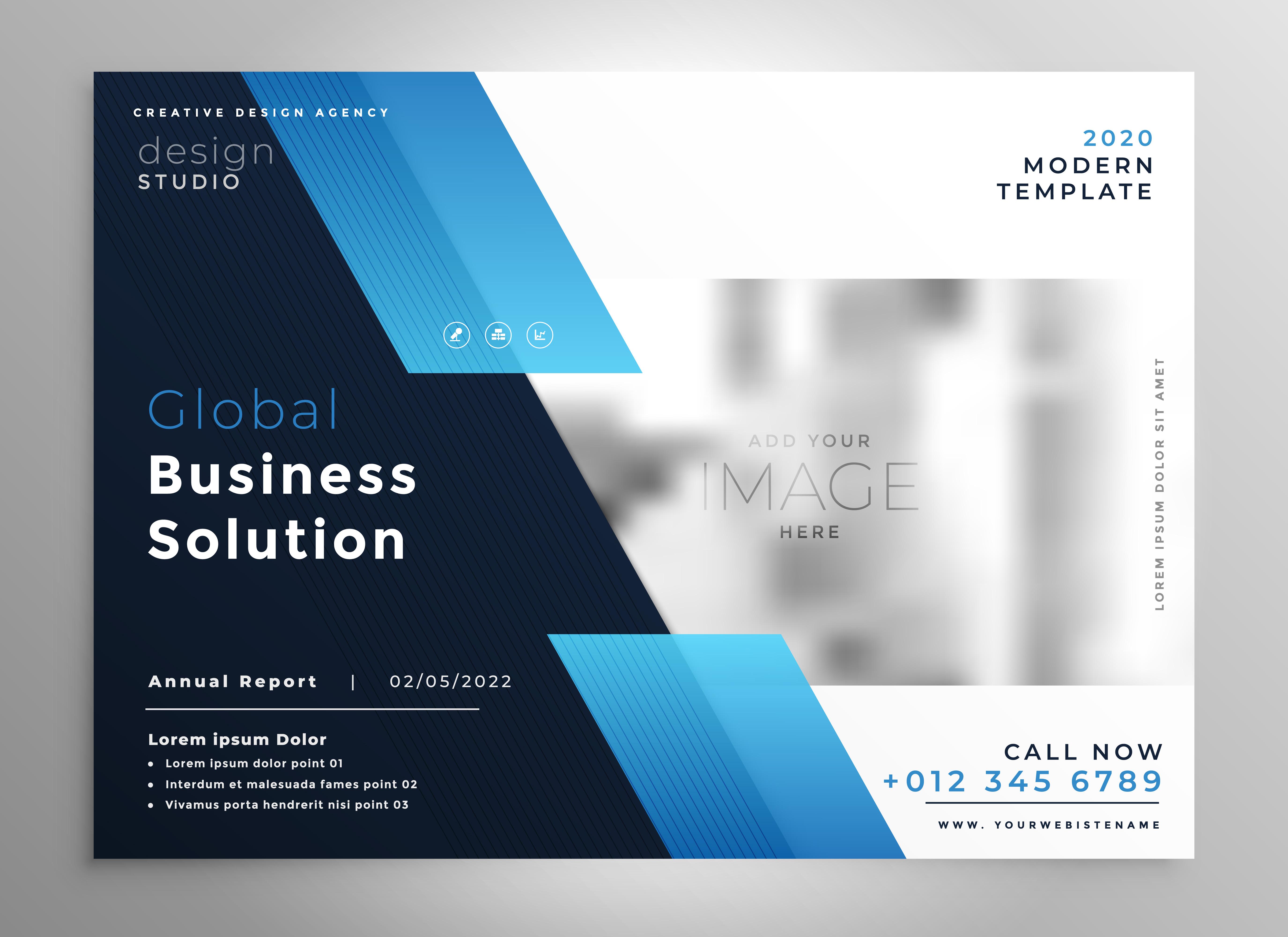 creative blue modern business brochure flyer presentation