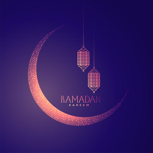 beautiful moon and lanterns design for ramadan kareem