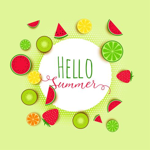 hello summer fruits banner background