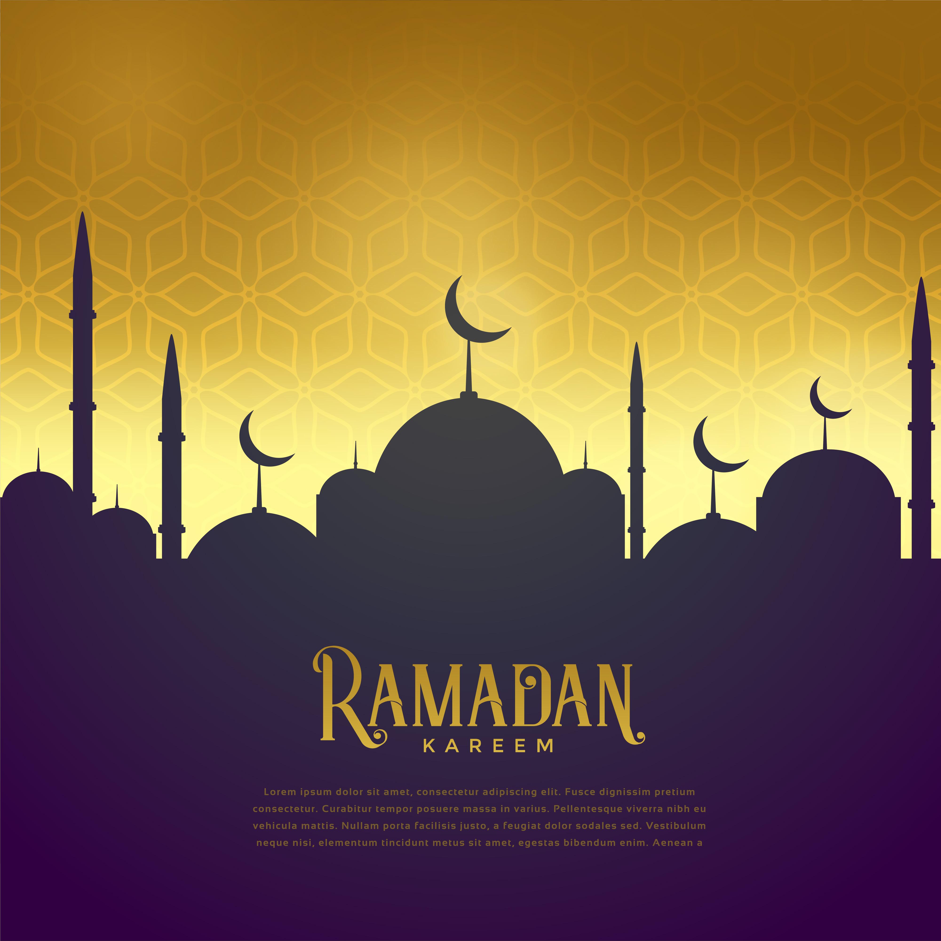 Beautiful Mosque On Golden Background Ramadan Kareem Greeting