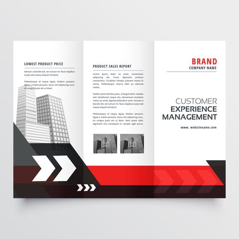 modern red black three fold business brochure