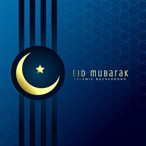 eid mubarak festival greeting with golden moon