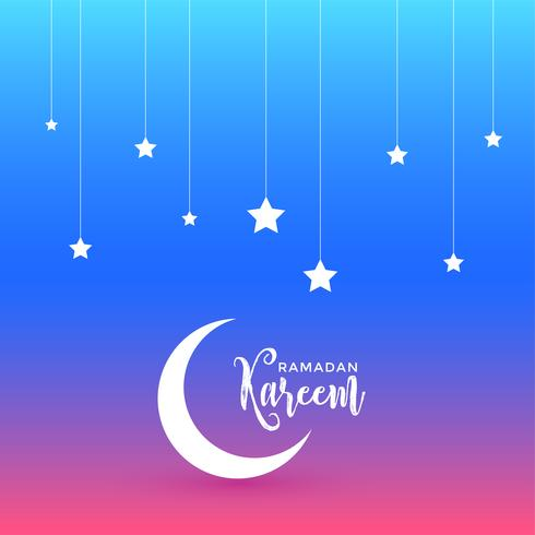 beautiful ramadan kareem design with moon and stars