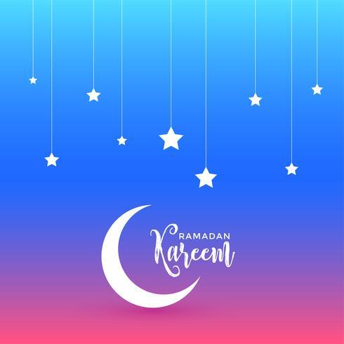 beautiful ramadan kareem design with moon and stars
