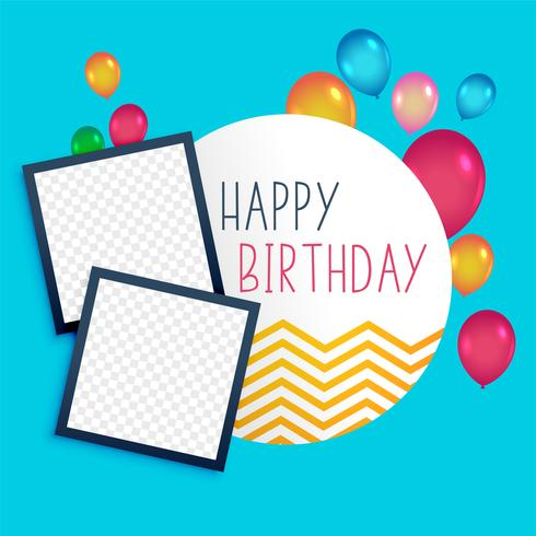 happy birthday template with photo frame