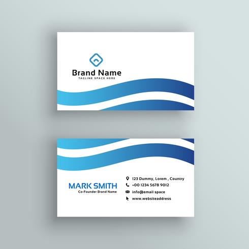 awesome blue wavy business card design