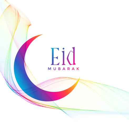 colorful eid mubarak crescent moon greeting