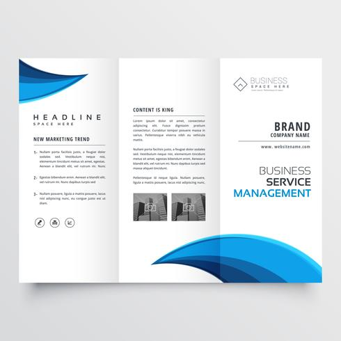 modern blue trifold business brochure layout design