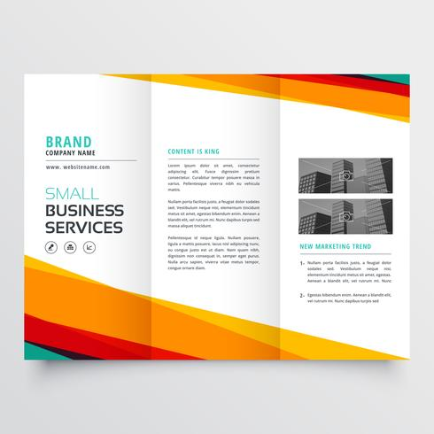 colorful abstract business trifold brochure design