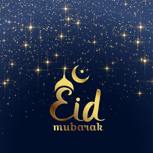 eid mubarak festival card with stars and sparkles