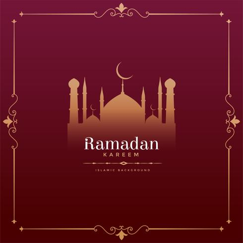 vintage style ramadan kareem festival design with mosque shape