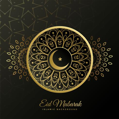 eid mubarak decorative islamic golden background