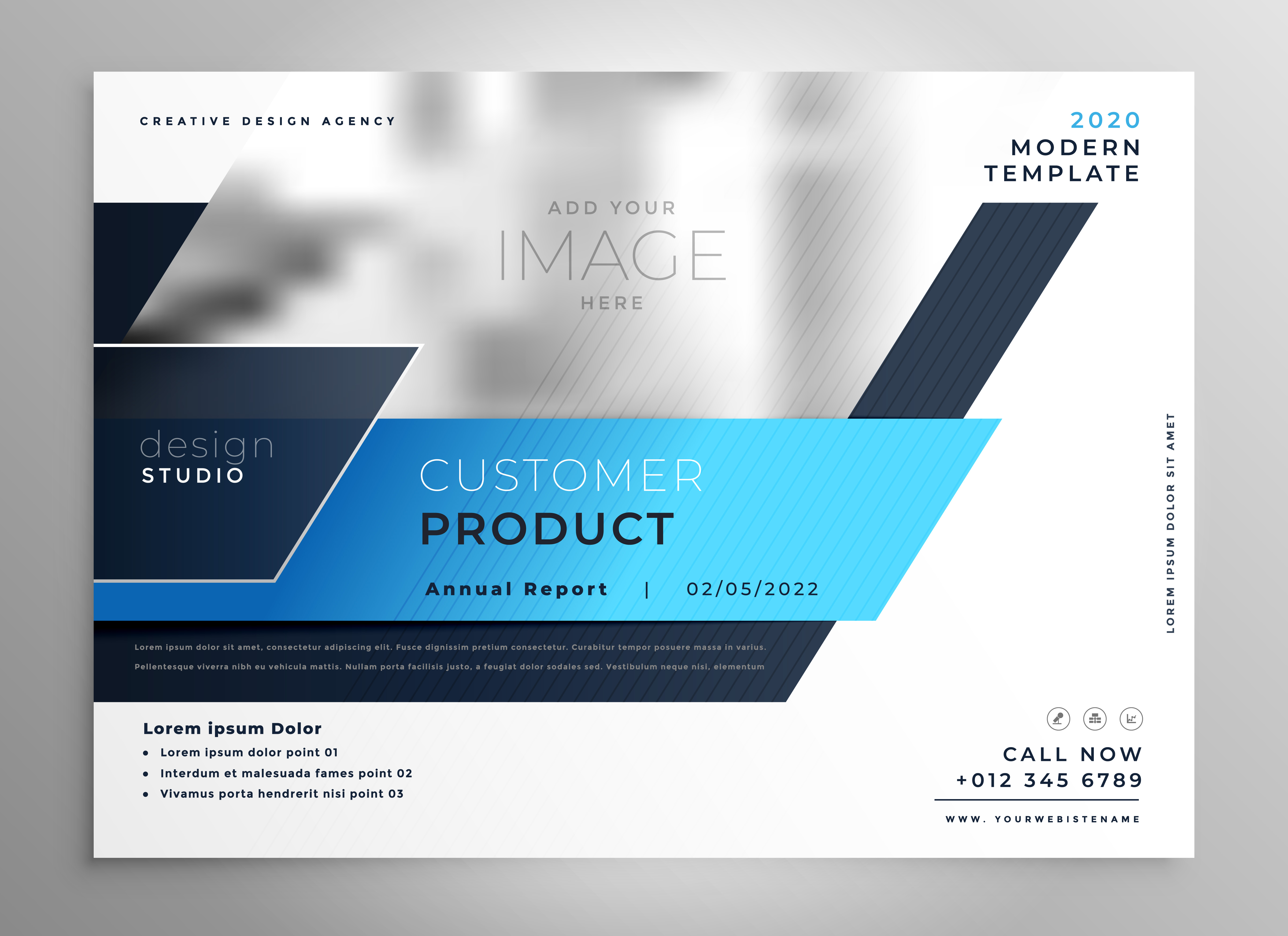 creative blue modern business flyer presentation cover