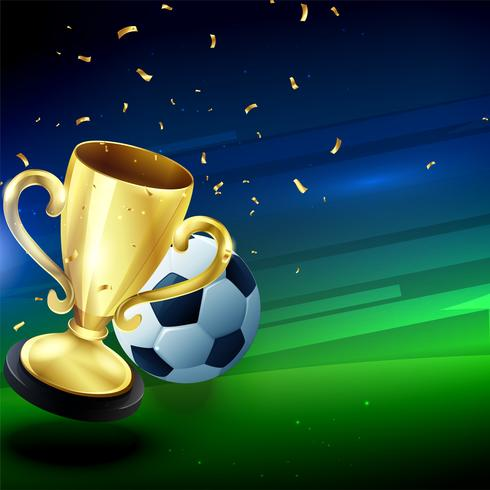 winning golden trophy with football background