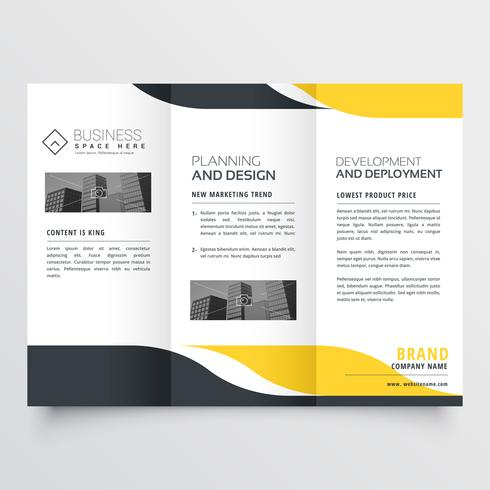professional yellow black modern trifold brochure design
