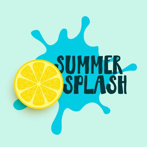 summer water splash with lemon background