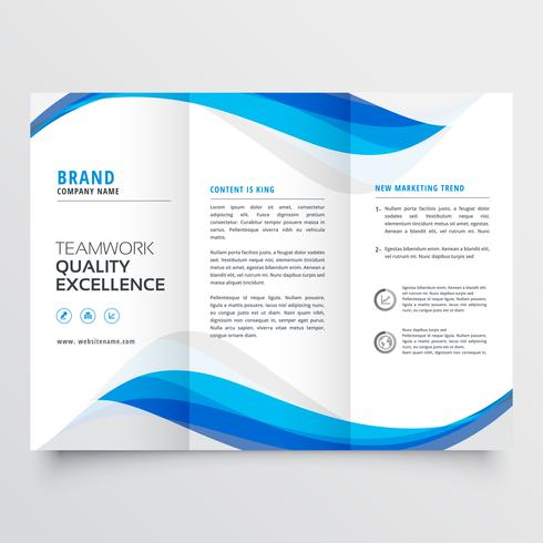 blue wavy business trifold brochure template