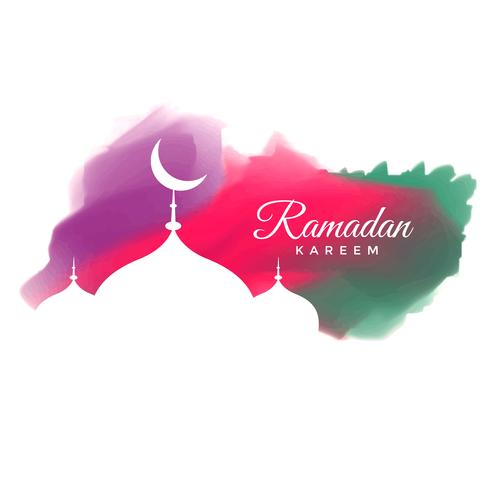 creative watercolor ramadan kareem greeting design