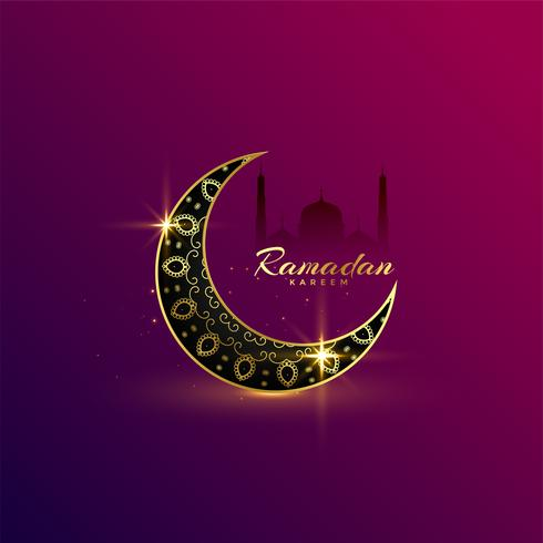 beautiful shiny golden moon ramadan kareem greeting