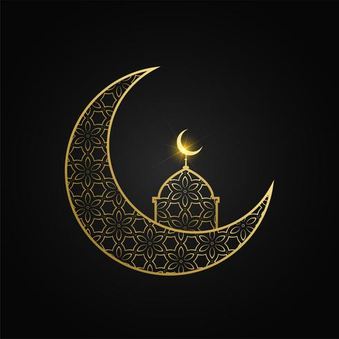 creative eid mubarak moon and mosque design