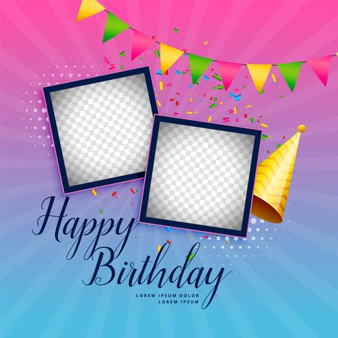 happy birthday celebration background with photo frame