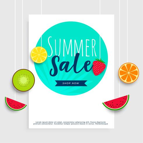 summer sale banner with hanging fruits