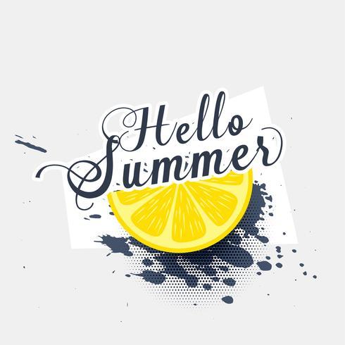 Olá Verão limão grunge respingo fundo