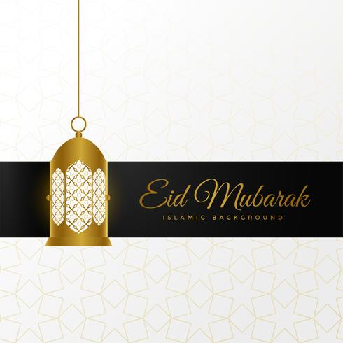 eid festival wishes greeting with hanging lantern