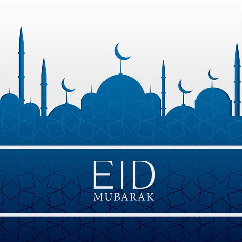 eid mubarak islamic background with blue mosque
