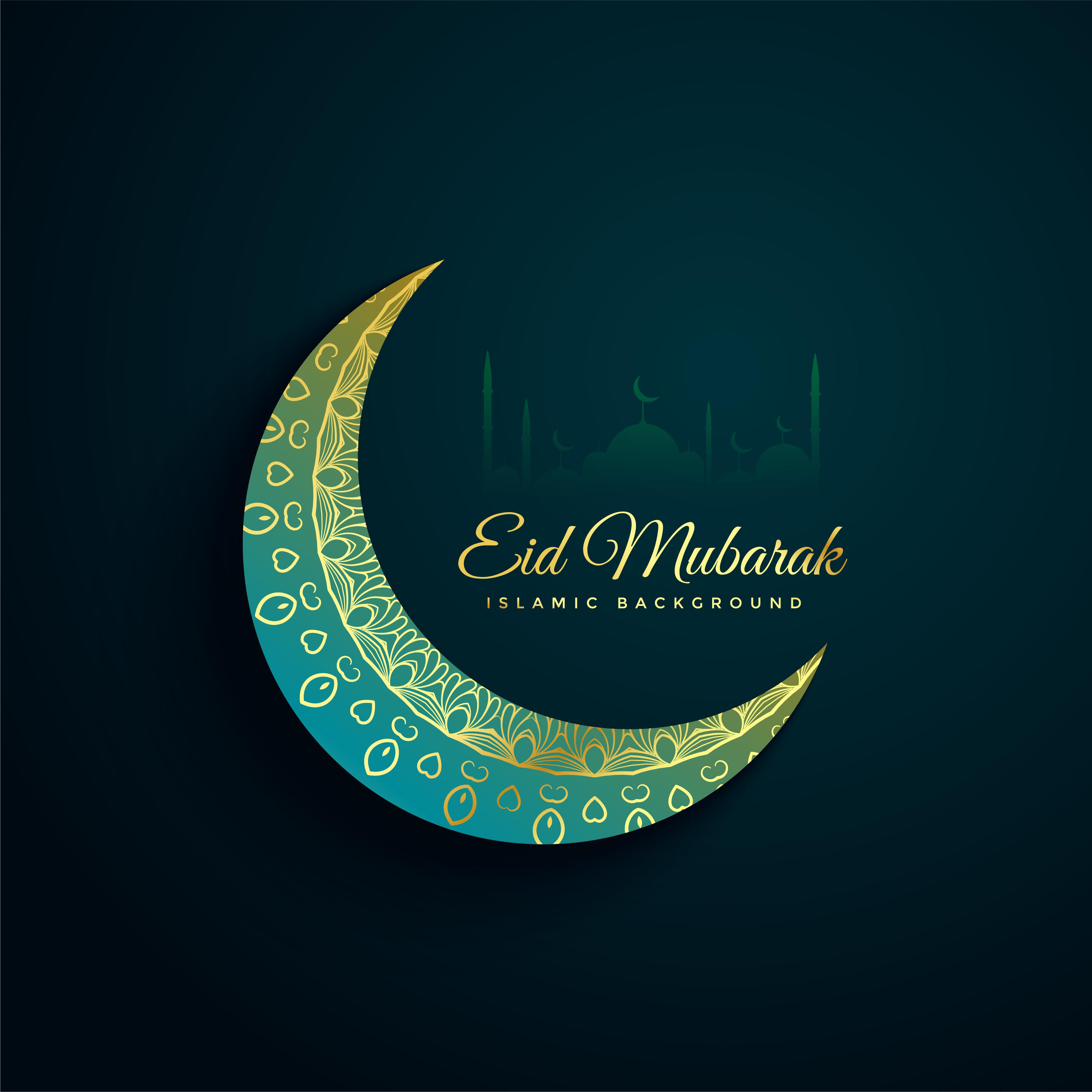 Beautiful Decorative Eid Mubarak Moon Background Download Free