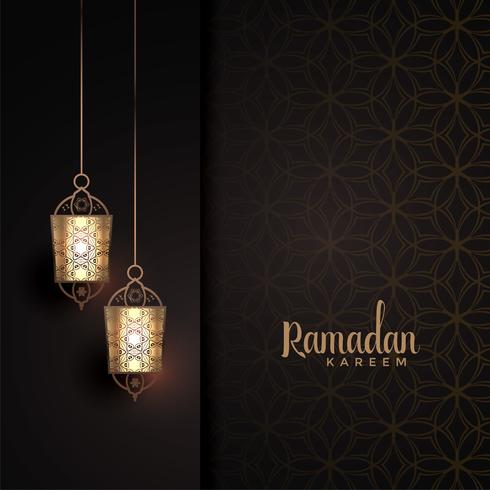 hanging lanterns with text space for ramadan kareem festival