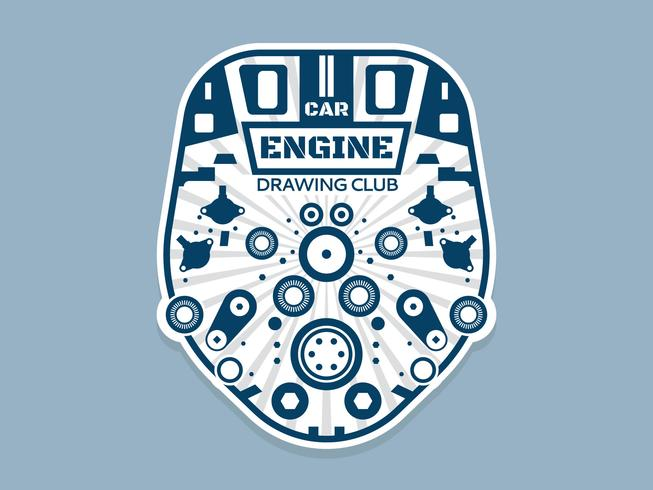Beautiful Car Engine Drawing Vectors