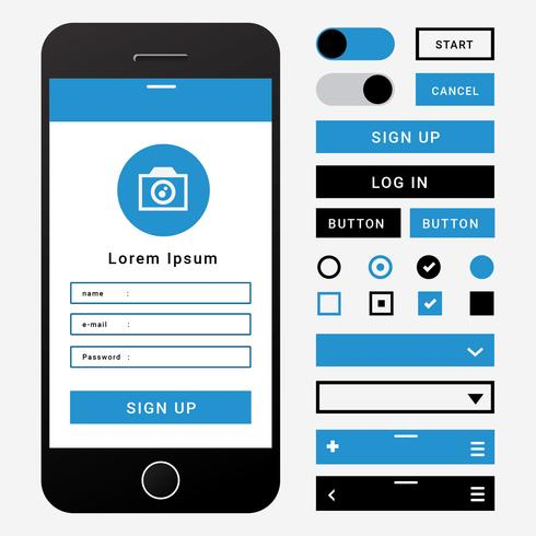 Mobile UI Wireframe Element