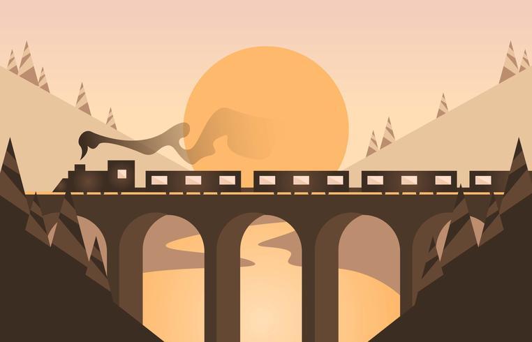 Vetor de ilustração plana de paisagem locomotiva