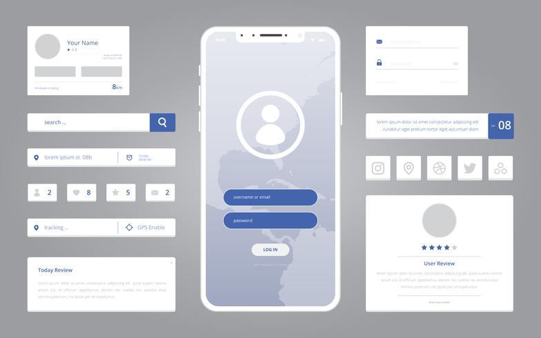 Wireframe Element Mobile och applikation i modern stil Flat Design