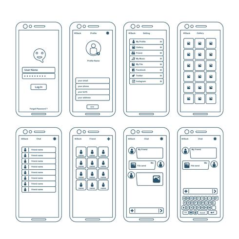apps wireframe element