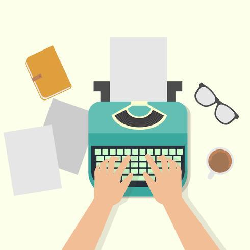 Manos del hombre escribiendo un artículo en una máquina de escribir vintage