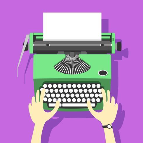 Green Typewriter Vector